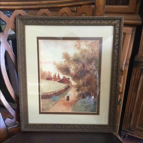 Early American Style Watercolor By FY